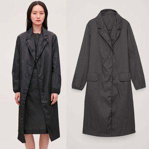 COS black crinkled oversized coat jacket XS/S